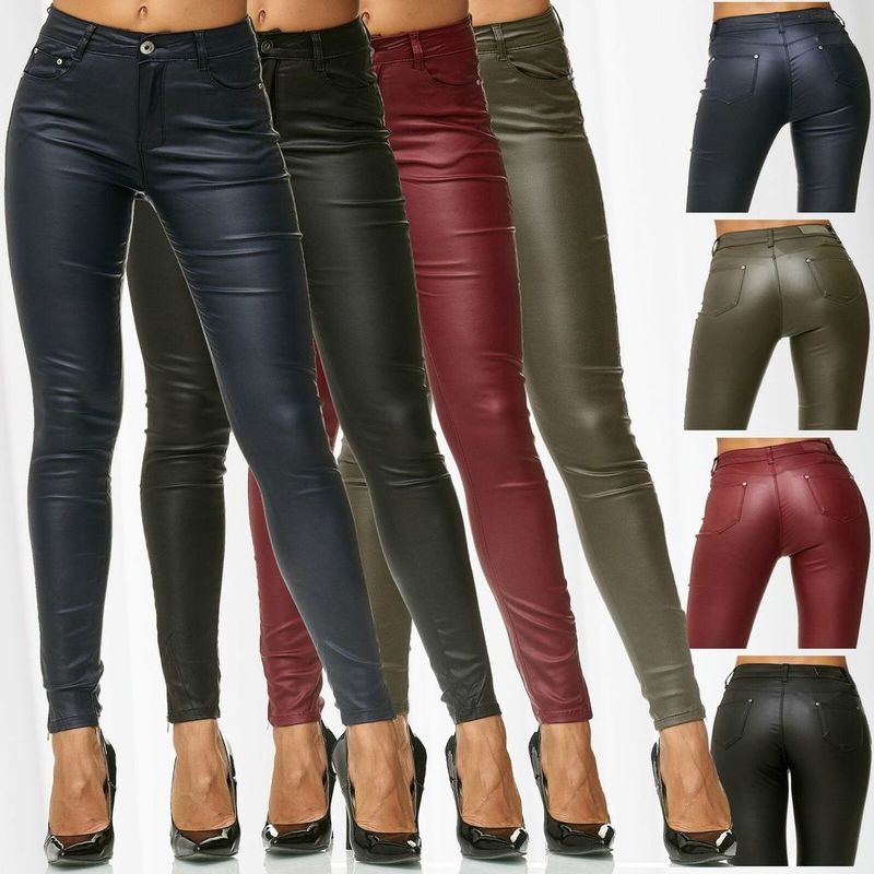 ZOGAA Women Faux Leather Pants Sexy Skinny Solid Slim PU Leather Trousers Female Leggings Pencil Pants Push Up Pants 2019 Hot