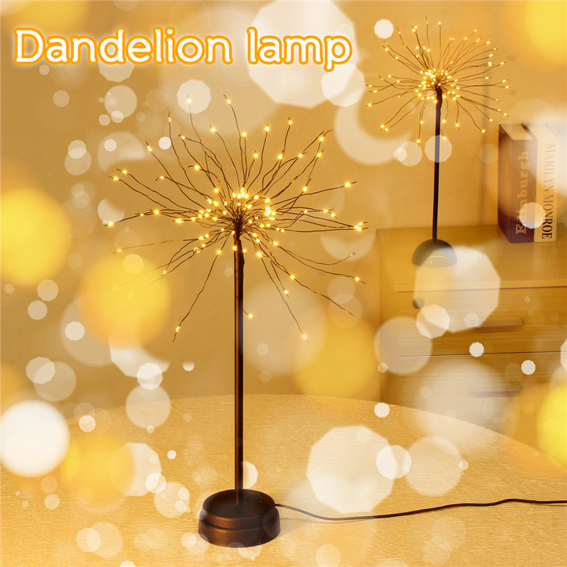Led Dandelion_lamp 100 LED Firework Starburst Light Desk Table Lamps Night Light USB/Battery Powered For Home Party