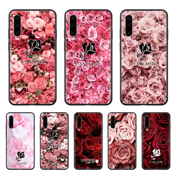 CosmeticsFrench Lancome Rose Phone case For Huawei P 30 10 20 40 Lite Smart Z Pro 2019 black coque luxury funda soft back tpu image