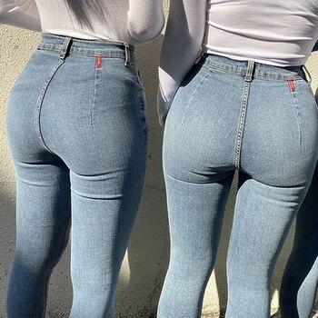 Women's Jeans High Waist Stretch Skinny Denim Pants 2020 Autumn Winter Blue Retro Washed Elastic Slim Pencil Trousers 1