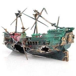 Большая декоративная лодка для аквариума с воздушным разделением