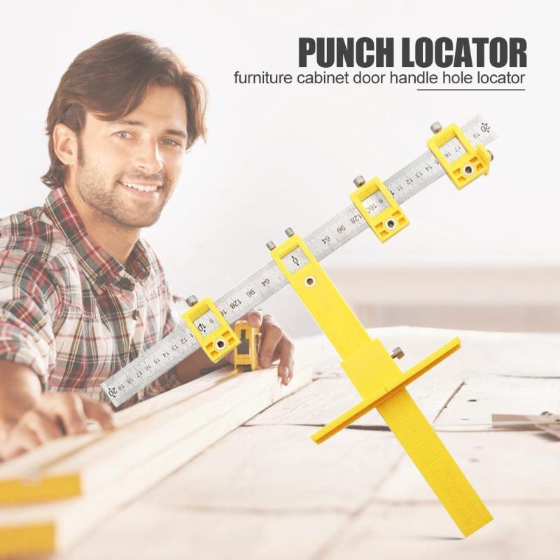 Multifunctional Furniture Punch Locator Cabinet Door Handle Punch Locator Adjustable Woodworking ToolsSufficient Durability