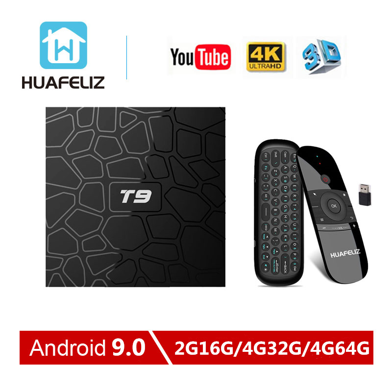 Android 9.0 TV Box T9 Tv Box 4GB 64GB T9 RK3328 RK3318 Quad Core 4G/32G USB3.0 Smart 4K décodeur 2.4G/5G double WIFI BT4.0-in Décodeurs TV from Electronique    1