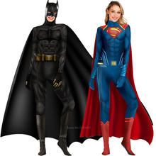 Super-héros Justice League Batman de luxe Muscle Superman déguisement d'halloween pour femmes hommes adultes Cosplay 3D imprimé combinaison fête(China)