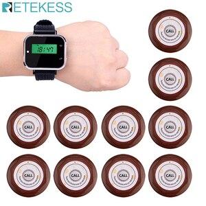 Image 1 - Retekess מסעדה קורא מערכת אלחוטי מלצר שיחת הביפר שעון מקלט + 10 pcs שיחת משדר כפתור F3300