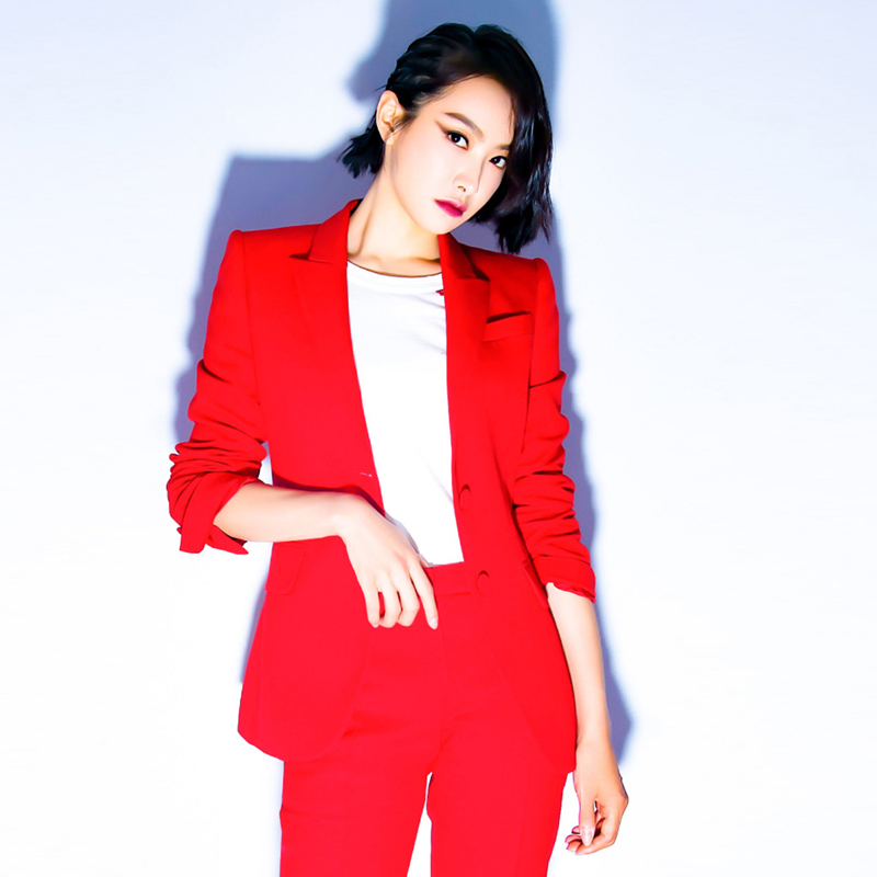 Fannic Women's Office Lady Two Pieces Sets Solid Red Elegant Single Breasted Turn-down Collar Blazers And Full Length Trousers
