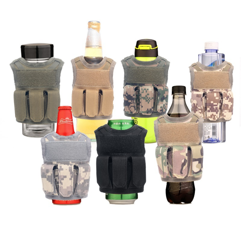 Tactical Beer Bottle Koozie Molle Vest Mini Water Bottle Cover Holder Beverage Cooler Military Hunting Wine Bottle Beer Vests