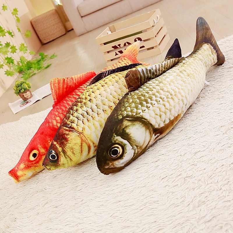 Symulacja ryby pluszowe zabawki wypchane zwierzęta karpia zabawka dla kota makrela crucian clown ryby arowana koi dla dzieci Pet interaktywne prezenty