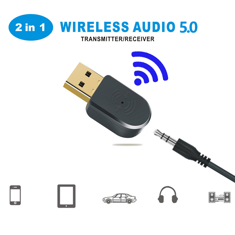 2 In 1 Bluetooth 5.0 Receiver/Transmitter Wireless Bluetooth Adapter USB 3.5mm AUX With Call MIC For PC Car Audio Speaker