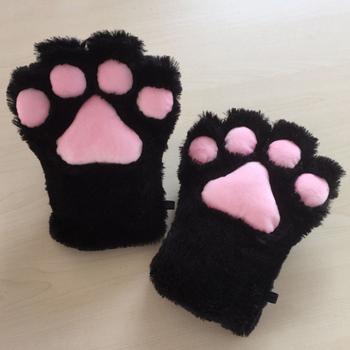 Słodki kociak kotek Paw pazur ciepłe rękawiczki Anime Cosplay pluszowe rękawiczki impreza z okazji Halloween akcesoria pluszowy kot puszyste niedźwiedzie łapa kota rękawiczki tanie i dobre opinie Prowow Unisex Adult cat Paw Claw Plush Gloves