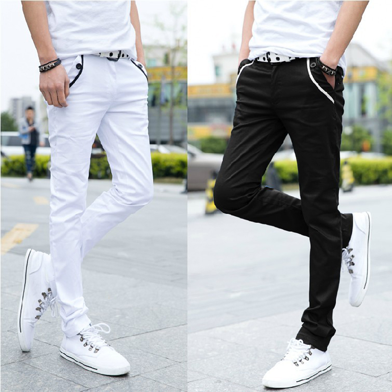 Wholesale 2020 Fashion Spring Summer Casual Black White Street Wear Twill Trousers Men Pontallon Homme Skinny Pencil Pants