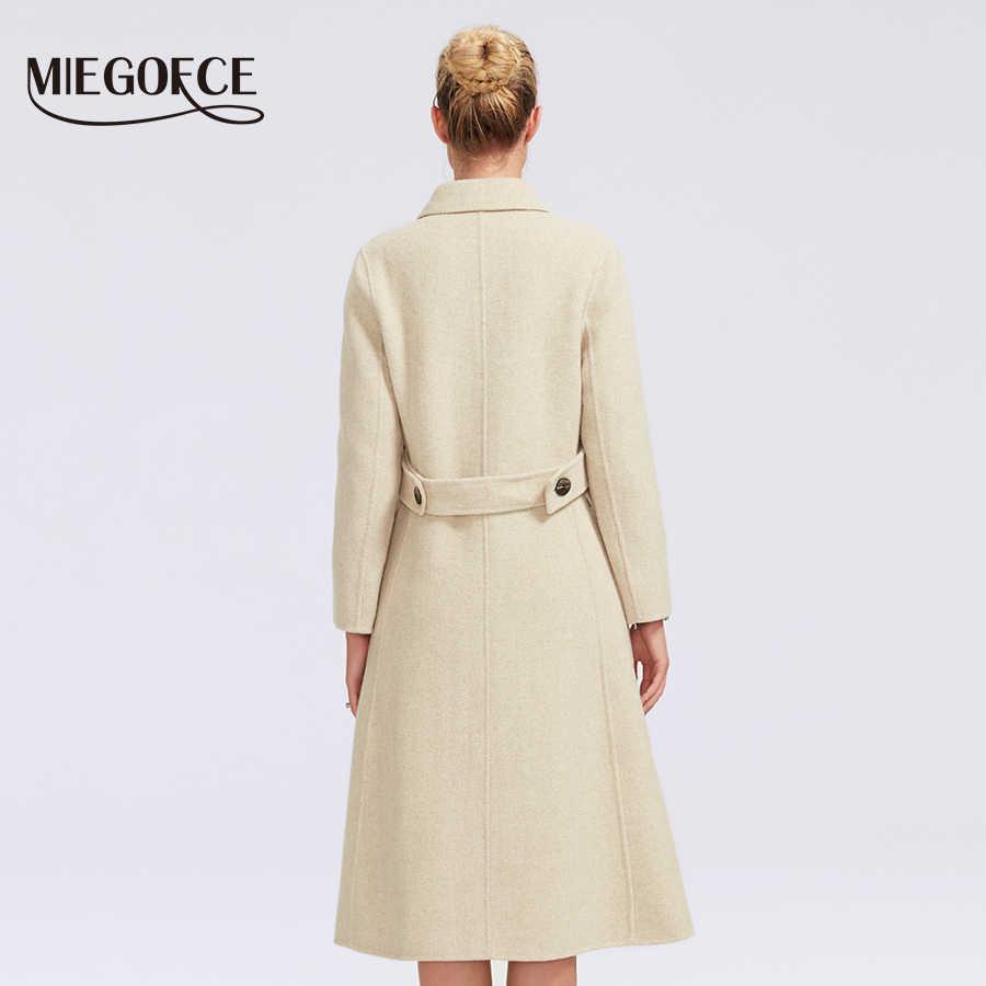 Miegofce 2019 Wanita Double-Faced Cashmerecoat Panjang Musim Dingin Desain Baru Hollywood Hangat X Panjang Kebesaran Imitasi Kasmir mantel