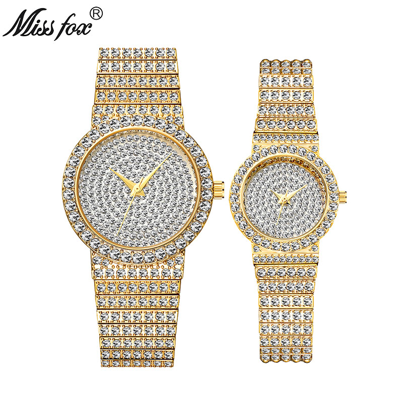 MISSFOX Top Brand Luxury Couple Watch Diamond Men/Women Quartz Watch Clock Ladies Luxury Wrist Watch Fashion Casual Lovers Watch