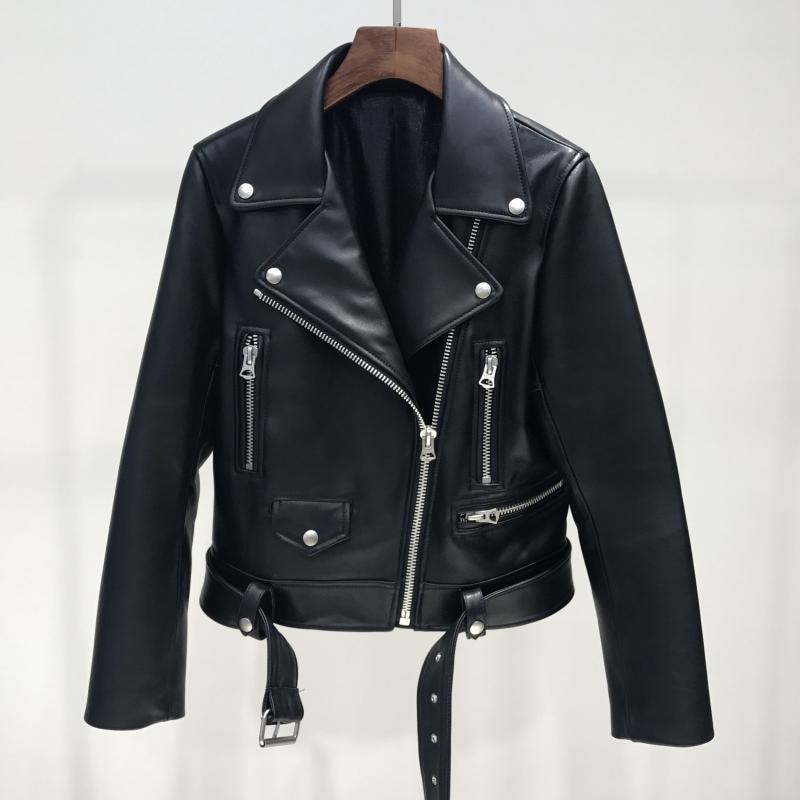 Spring Autumn Pu Leather Jacket Women Zipper Belt Short Soft Pu Leather Jackets Biker Black Punk Bomber Faux Motorcycle Coat