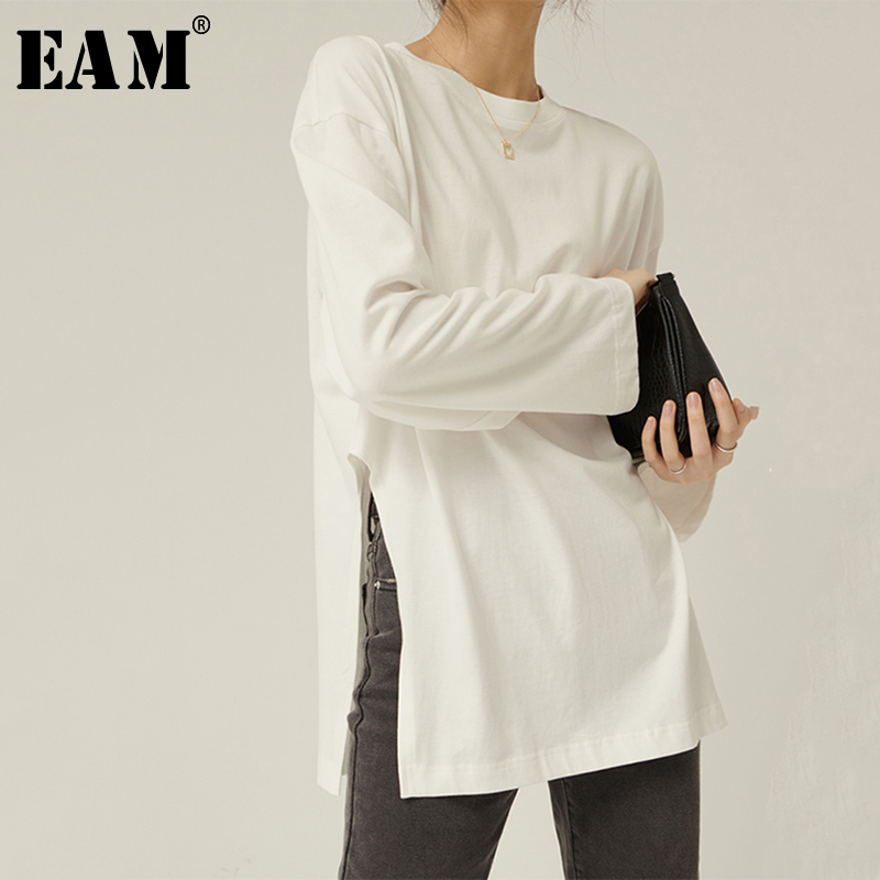 [EAM] Women White Vent Split Big Size Temperament  T-shirt New Round Neck Long Sleeve  Fashion Tide  Spring Autumn 2020 1R156