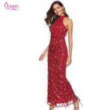 Suknie wieczorowe syrenka cekinowa na szyję kostki Tassel wesele przyjęcie gościnne formalne suknie wieczorowe suknie balowe