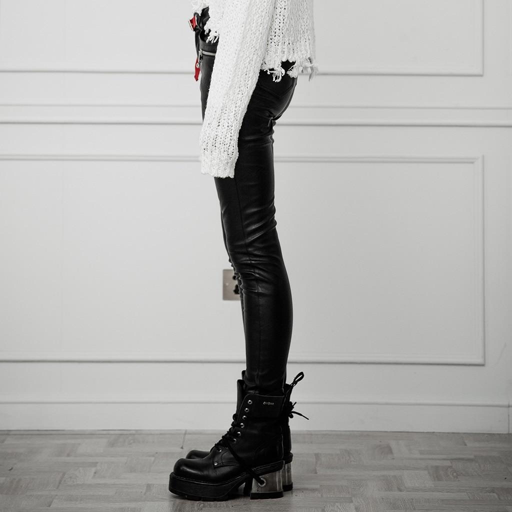 Панковские рейв женские в стиле панк с ушками контрастного цвета с поясом из искусственной кожи брюки облегающие эластичные женские обтяги... - 2