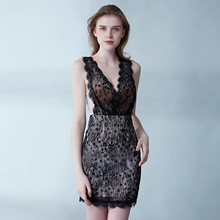 Sexy Evening Party Dress Short Black Lace Mermaid Prom Dresses See Through Nightclub Dress Elegant Sexy V-neck African Dresses