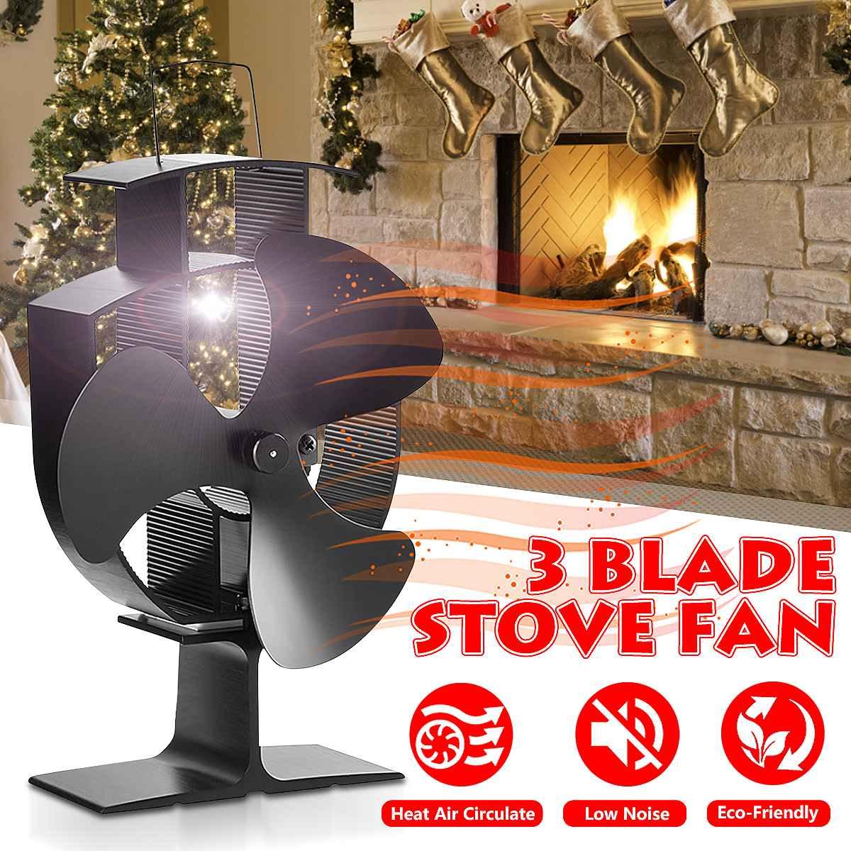 Black Fireplace 3 Blade Heat Powered Stove Fan Komin Log Wood Burner Eco Friendly Quiet Fan Home Efficient Heat Distribution