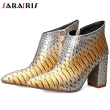 SARAIRIS New 34-43 Hot Sale Ladies Fashion mixed-color Booties High Chunky Heels Ankle Boots Women 2019 Fretwork Shoes Woman