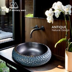 Image 2 - Arte fregadero de baño, cuenco para lavabo, 460x460x150mm, redondo, restauración de antiguas formas, recipiente de cerámica, lavabo antiguo AM863
