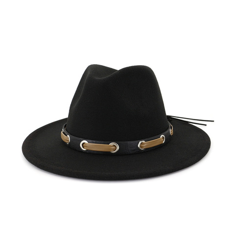 Trendy Men Women Wool Felt Jazz Style Fedora Hats Panama Trilby Party Formal Top Hat In BLACK ,WHITE AND YELLOW with Belt Decor Lahore