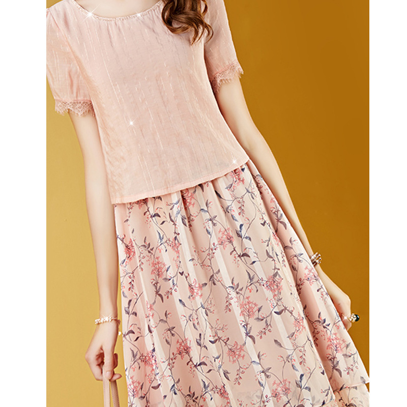2019 New Style WOMEN'S Dress Ladies' Very Fairy Of Chiffon Floral Dress Fake Two-Piece Waist Hugging Medium-length Dress Zi Xia