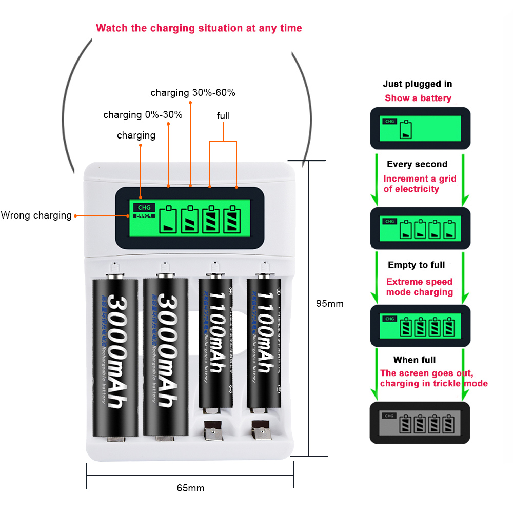 PALO Smart LCD Display USB Battery Charger For Ni CD Ni MH AA AAA Rechargeable Batteries 4pcs AA Batteries 4pcs AAA Batteries in Rechargeable Batteries from Consumer Electronics