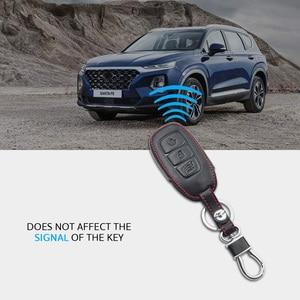 Image 4 - Leather Car Key Case For Hyundai Santa Fe TM 2019 I30 2018 Solaris Azera Elantra Grandeur Accent Keychain Holder Protector Cover