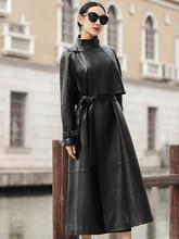 цена на Nerazzurri black long faux leather trench coat for women belt Raglan sleeve spring autumn coat women plus size loose overcoat