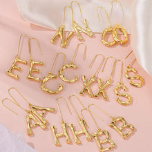 2021 Trendy 1 piece A-Z Letters Mini Small Hoop Gold Earrings Women Gold Cubic Zirconia Jewelry For Earring Aretes Alphabet