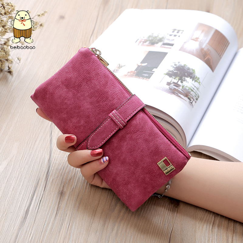 Beibaobao Suede Wallet Long Purse Drawstring Two-Fold Ladies Famous-Brand Zipper Nubuck title=