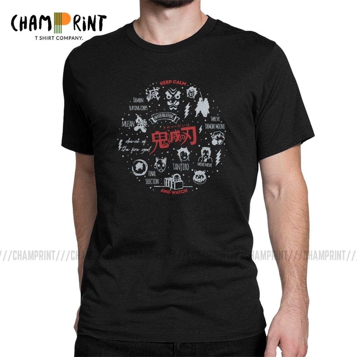 Demon Slayer Anime Men T Shirt Demon Blade Novelty Tees Short Sleeve Round Neck T-Shirts 100% Cotton Summer Tops