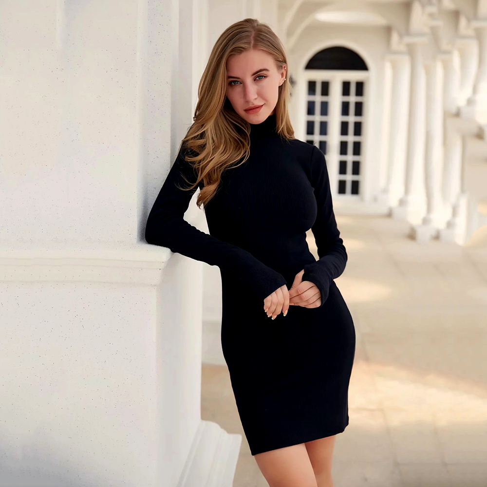2019 Winter Solid Dress Women Sexy Night Club Bodycon Turtleneck Warm Solid Color Dresses Tight Buttocks Mini Dress Size Vestido