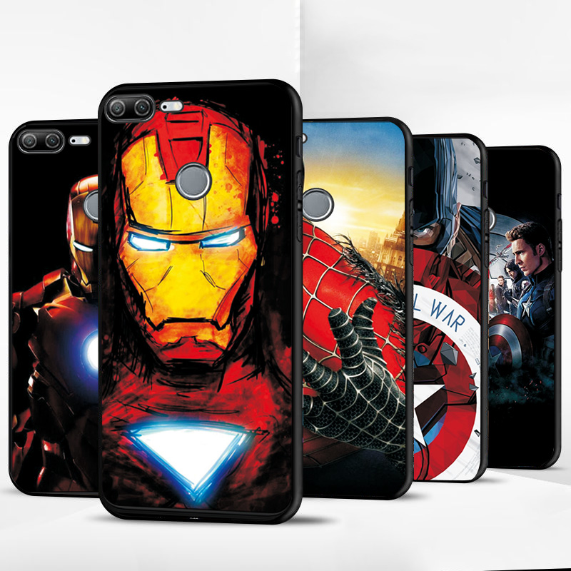 Captain America Cover For <font><b>Huawei</b></font> Y9 <font><b>2019</b></font> Black TPU Phone <font><b>Case</b></font> For <font><b>Huawei</b></font> Honor Y5 Y6 2017 Y9 2018 <font><b>Y7</b></font> <font><b>2019</b></font> Y5 Lite Y5 Prime 2018 image