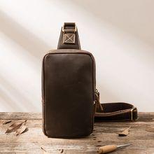 Genuine Leather Men Chest Bag Retro Soft Crossbody Pack Handmade Cowhide Crazy Horse Brown Travel Leisure Single Shoulder Bags