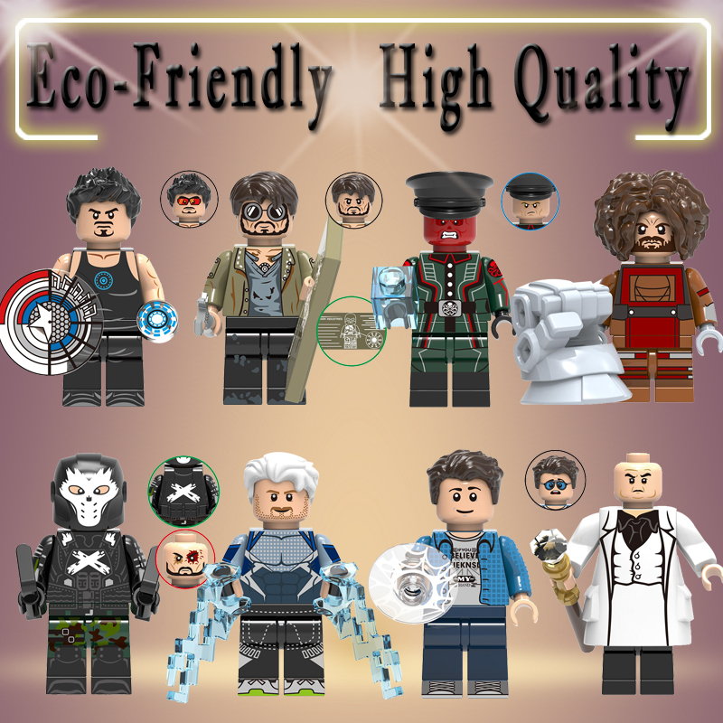 Legoed Marvel Super Heroes Crossbone Peter Parker Quicksilver Kingpin Tony Stark Red Skull Dwarf Building Blocks Toys X0270