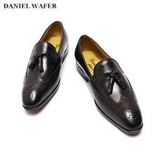 School Genuine Leather Boy Shoes Children Tassel Slip-on