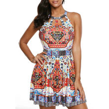 Women Boho Floral Dress Beachwear Sleeveless Backless Sexy Summer Beach Short dress Plus Size Freeshipping(China)