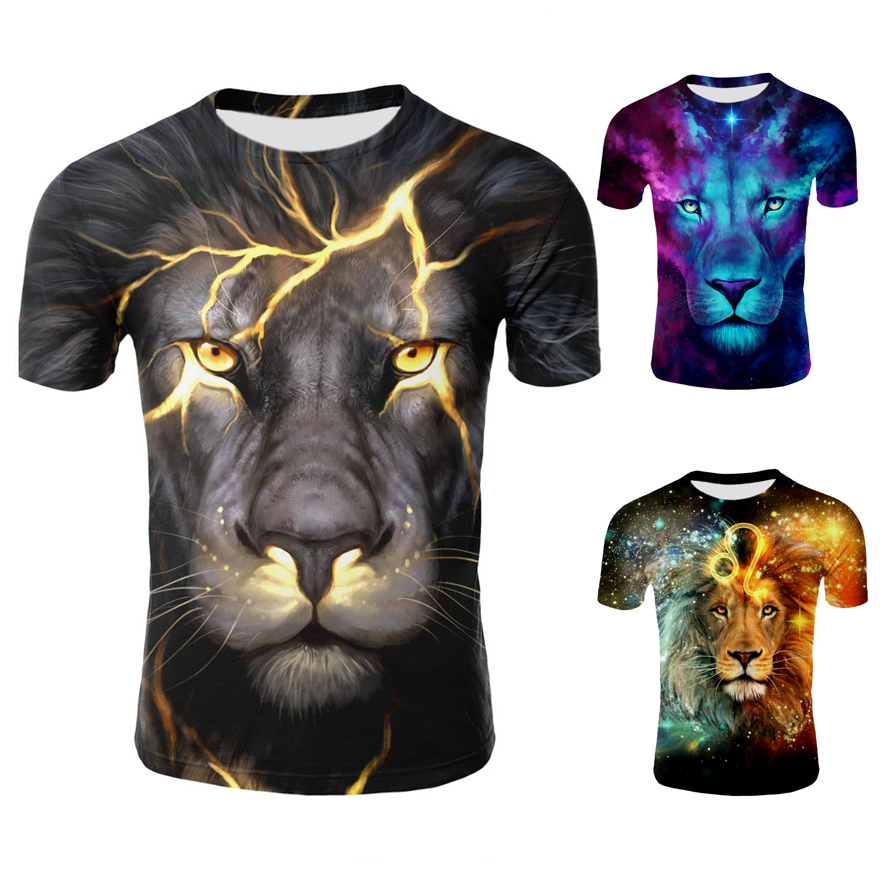 Lion T Shirt Men Funny 3d Print T-shirt Hip Hop Tee Cool Mens Streetwear Fashion Casual Short Sleeve O-neck Animal Tshirt