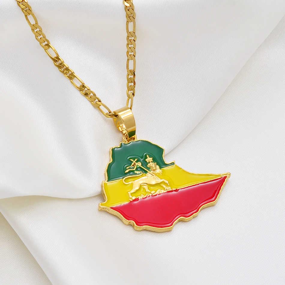 Anniyo mapa etiopii łańcuszek z wisiorem naszyjniki dla kobiet mężczyzn, złoty kolor flaga etiopia mapy biżuteria akcesoria #225606