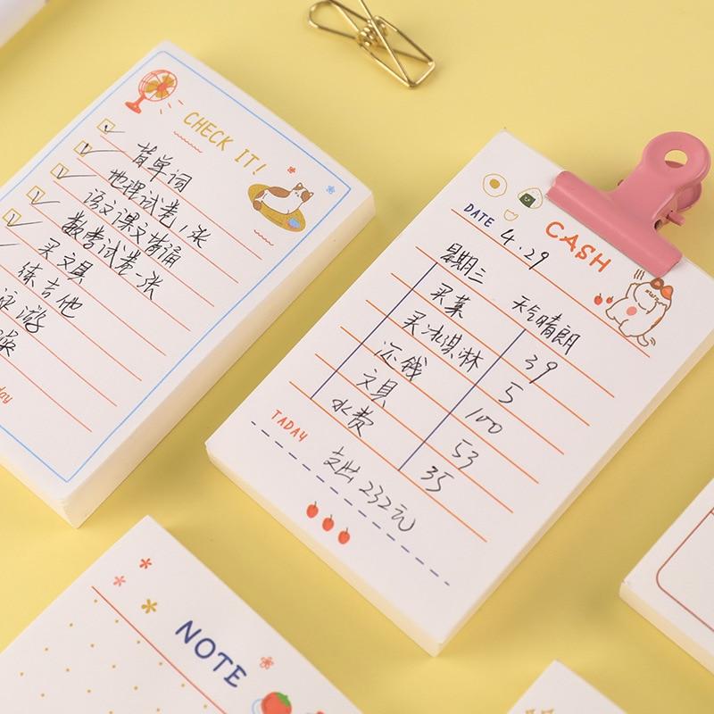 Yoofun 100 arkuszy/lot codzienne wskazówki Do zrobienia lista tygodniowy/miesięczny Plan Kawaii notatki przenośny zegar w notatniku szkolne materiały biurowe