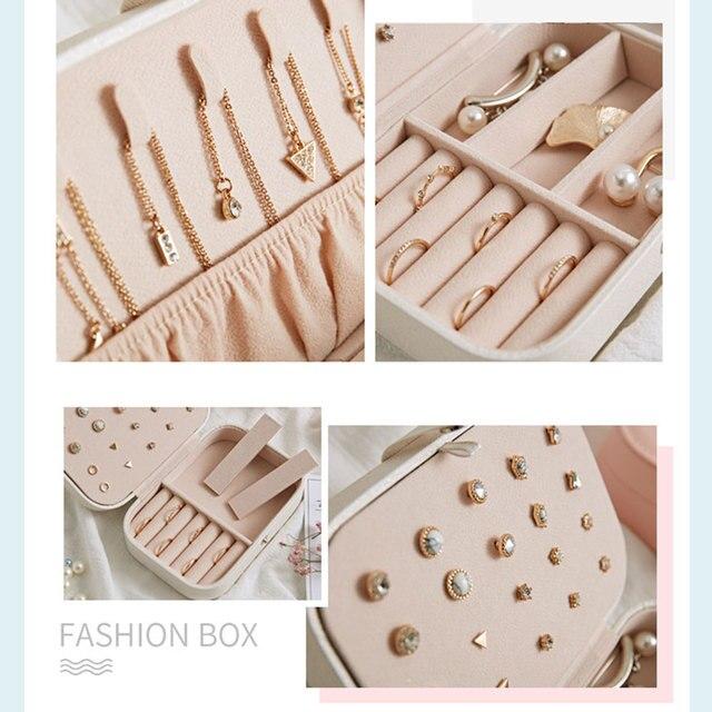 PU Leather Jewelry Box Storage Box Ring Display Lady Case Portable Jewelry Organizer for Necklaces Joyeros.jpg 640x640 - Double Decker Jewelry LotusBox