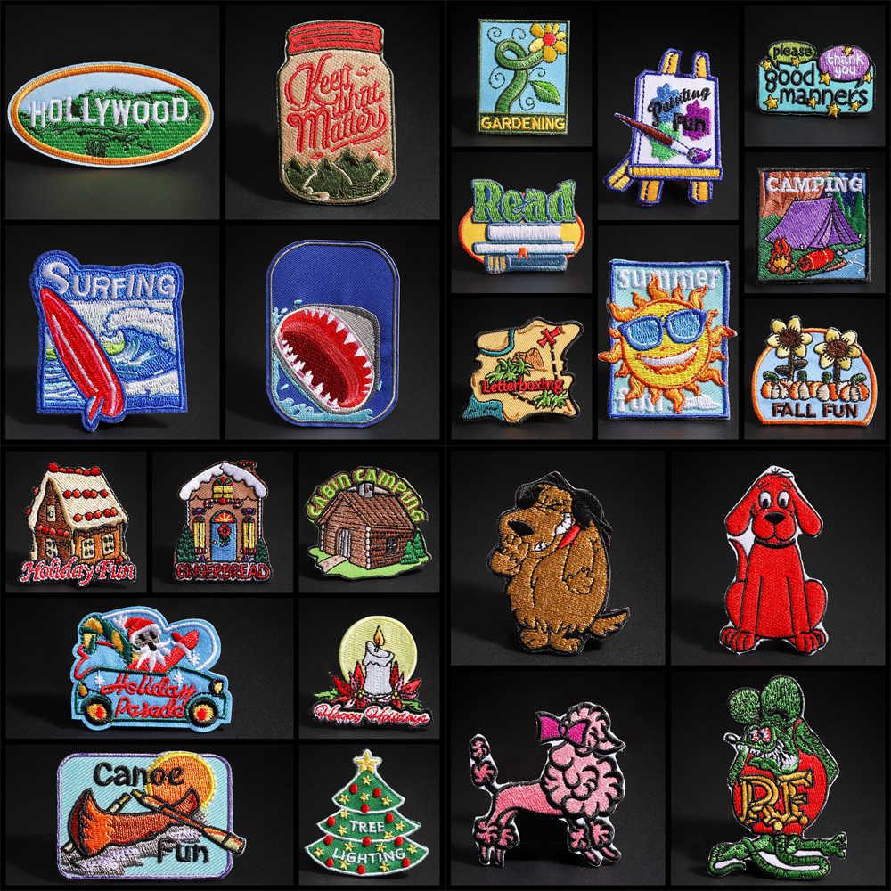 ChristmPalette hollywood Patches Eisen Auf Shark Pudel Stickerei Für Kleidung Weihnachten Lesen Jeans Mantel Hut Feine Dekoration