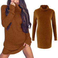 цена на Ribbed Knit Pullover Turtleneck Long Knitwear Sweater Dress Sexy Solid Color Sweater Women Long Sleeve Slim Fit Bodycon Sweater