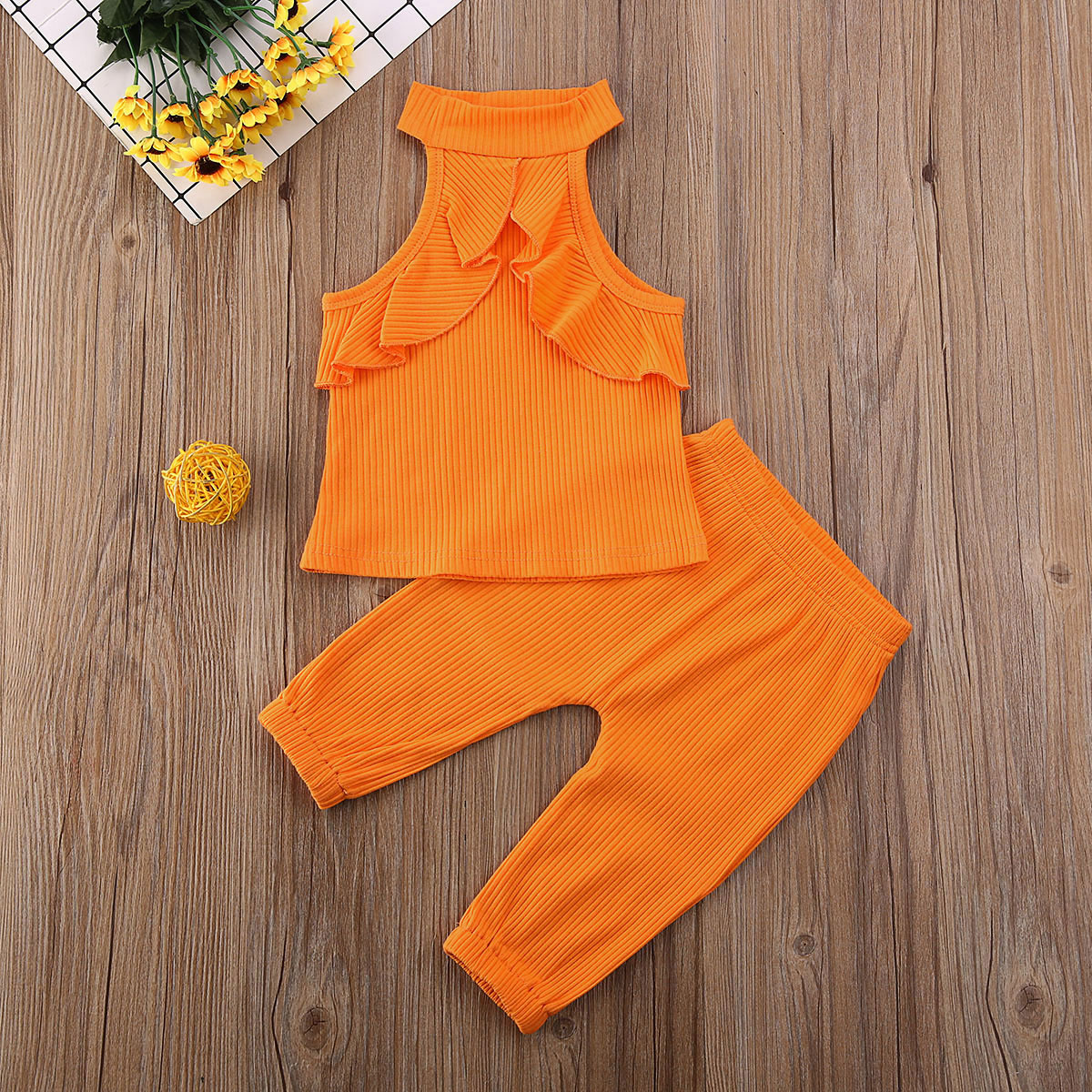 Pudcoco Toddler Baby Girl Clothes Solid Color Sleeveless Ruffle Vest Tops Long Pants 2Pcs Outfits Knitted Cotton Clothes Set