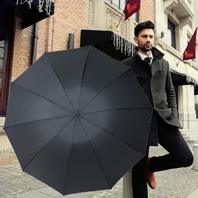 Manufacturers Direct Selling Ultra Large 10 Bone Manual Folding Umbrella Plain Color Advertisement Umbrella Double Umbrella Cust