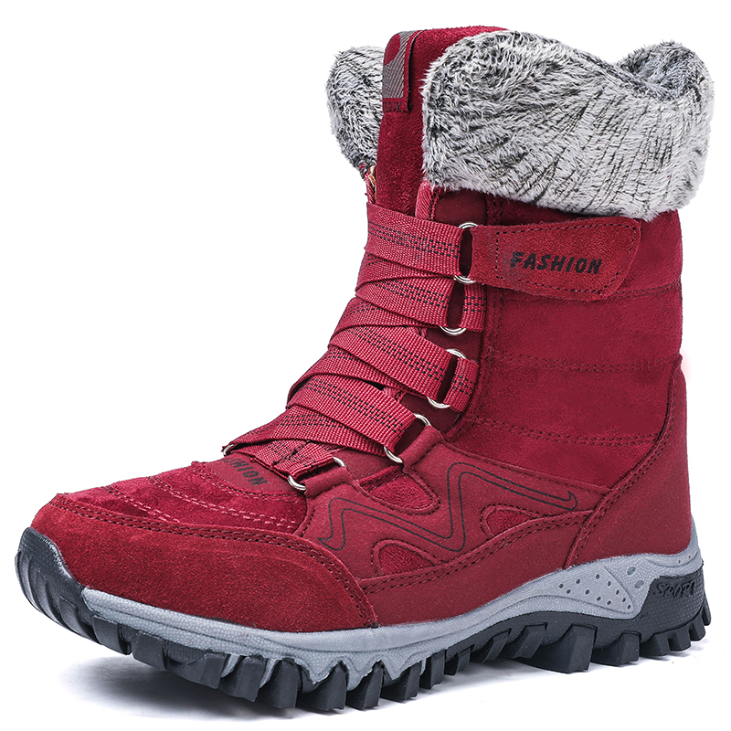 New Arrival Fashion Suede Leather Women Snow Boots Winter Warm Plush Women's boots Waterproof Ankle Boots Flat shoes 35-42 60