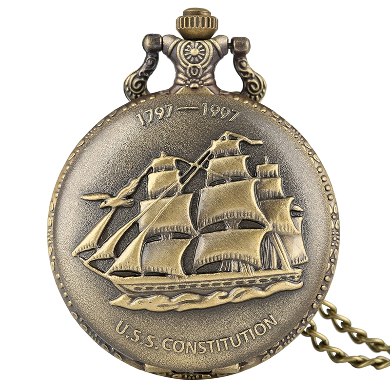 Bronze Sailing Canvas Boat Ship Quartz Pocket Watch Necklace Clock Pendant Vintage Watches Chain Women Men Relojes De Bolsillo