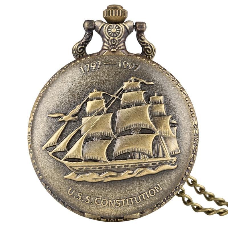 Bronze Sailing Canvas Boat Ship Quartz Pocket Watch Necklace Clock Pendant Vintage Watches Chain Women Men Relojes De Bolsillo